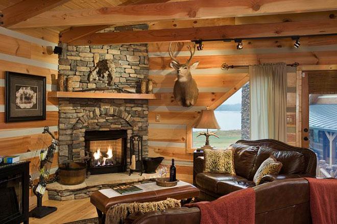 Камин в стиле Шале дизайн интерьера гостиной с фото в доме