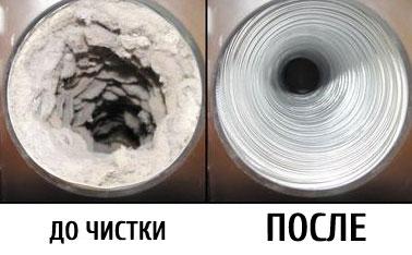 До и после чистки дымохода результат