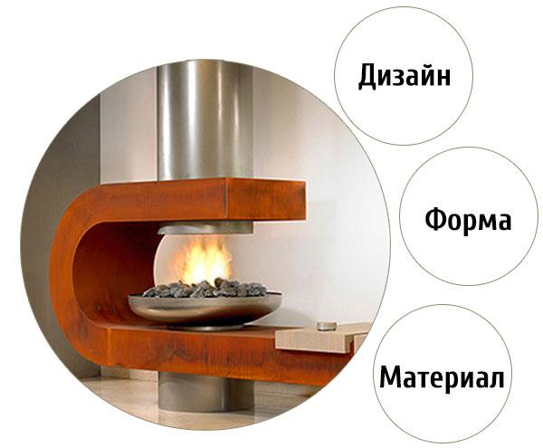 Форма камина, материал и дизайн