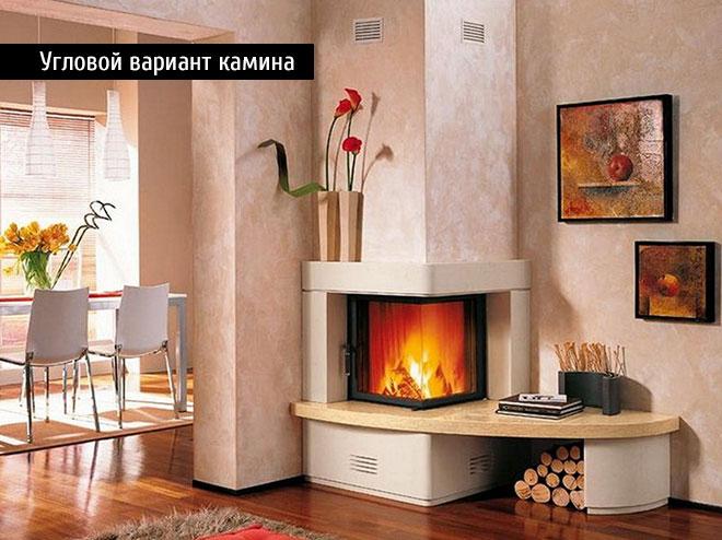 Угловой вариант дровяного камина в доме