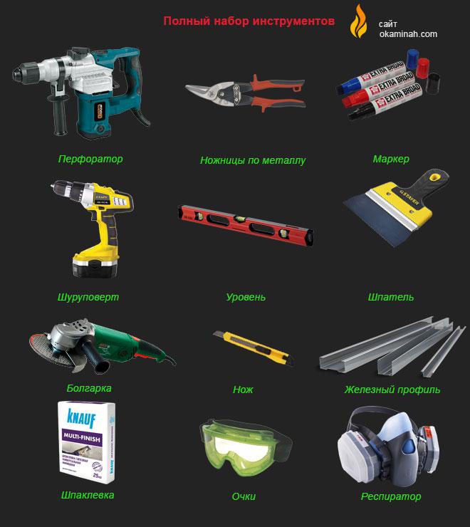 Полный набор инструментов для установки декоративного или настоящего камина в доме и квартире