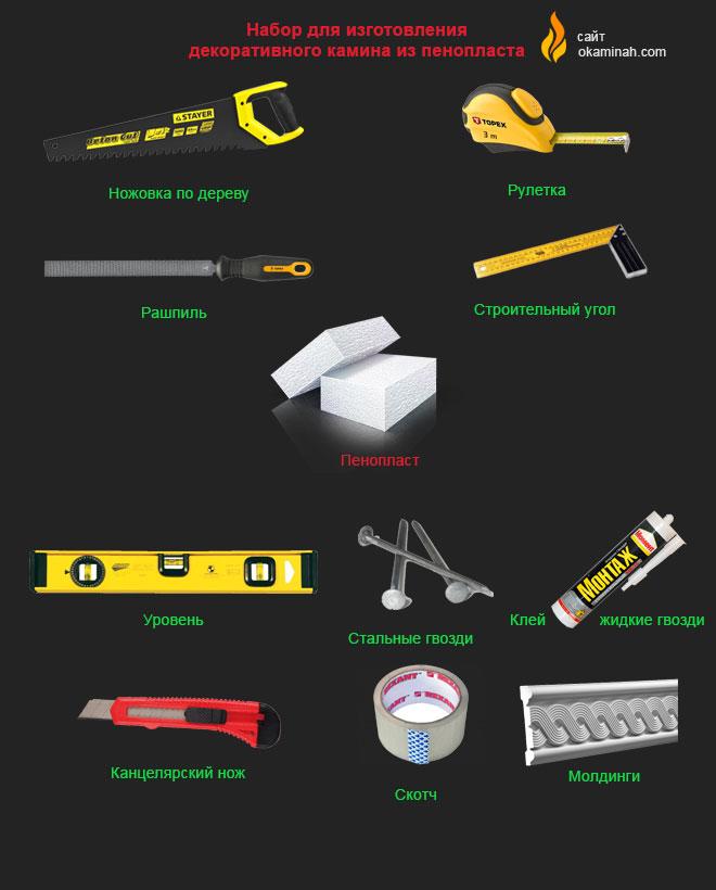 Набор инструментов для установки конструкций из пенопласта